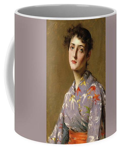 America Coffee Mug featuring the painting Girl In A Japanese Costume by William Merritt Chase