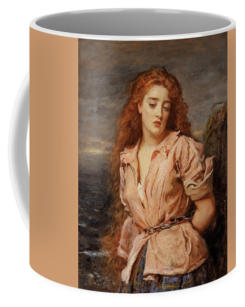British Coffee Mug featuring the painting The Martyr Of The Solway by John Everett Millais