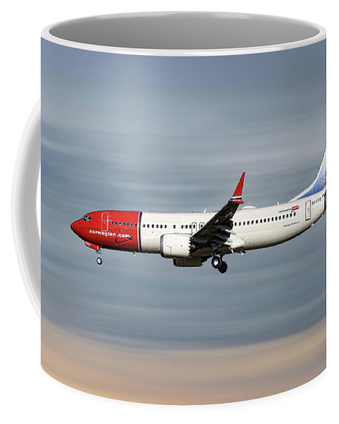 Norwegian Coffee Mug featuring the mixed media Norwegian Boeing 737 Max 8 by Smart Aviation
