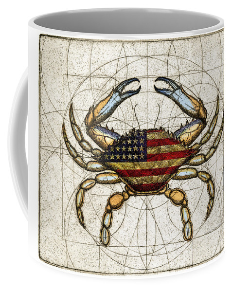 Charles Harden Coffee Mug featuring the mixed media 4th Of July Crab by Charles Harden