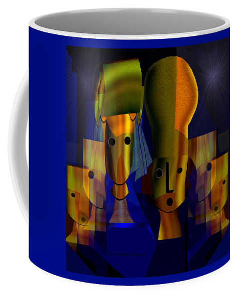 796 Coffee Mug featuring the painting 796  Golden Vanity V by Irmgard Schoendorf Welch