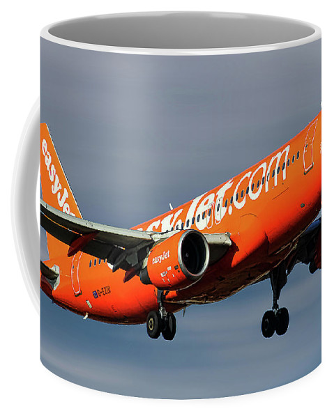 Easyjet Coffee Mug featuring the mixed media Easyjet 200th Airbus Livery Airbus A320-214 by Smart Aviation