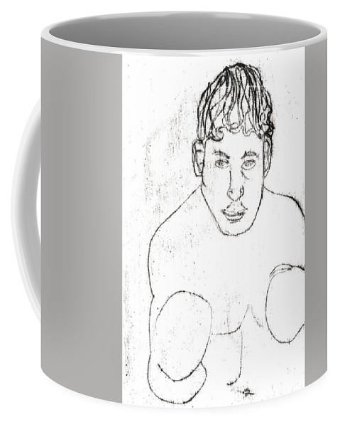 Boxer Coffee Mug featuring the drawing A Boxer Boxing by Artist Dot