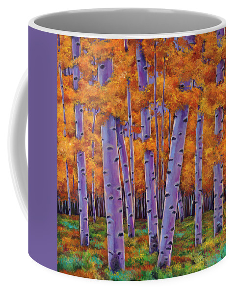 Aspen Trees Coffee Mug featuring the painting A Chance Encounter by Johnathan Harris