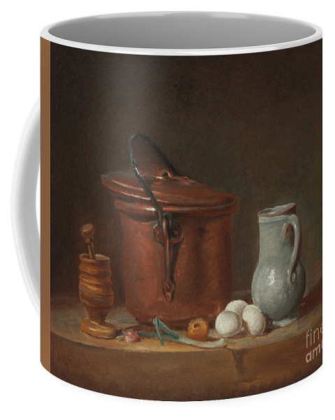 A Copper Saucepan Coffee Mug featuring the painting A Copper Saucepan, A Pestle And Mortar, A Pitcher, A Scallion, Eggs And An Onion On A Shelf by Jean-Baptiste Simeon Chardin