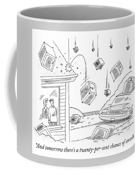 Rain Coffee Mug featuring the drawing A Couple Watches As It Rains Safes by Mick Stevens