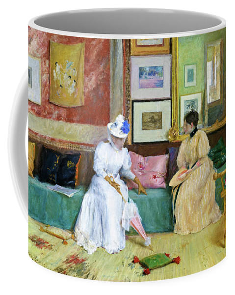 William Merritt Chase Coffee Mug featuring the painting A Friendly Call - Digital Remastered Edition by William Merritt Chase
