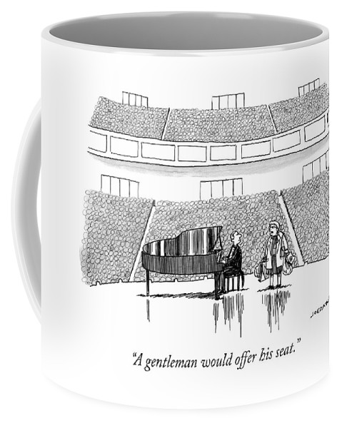 """""""a Gentleman Would Offer His Seat."""" Coffee Mug featuring the drawing A Gentleman by Joe Dator"""