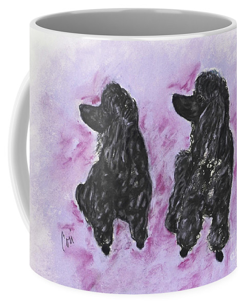 Standard Poodle Coffee Mug featuring the drawing A Perfect Match by Cori Solomon