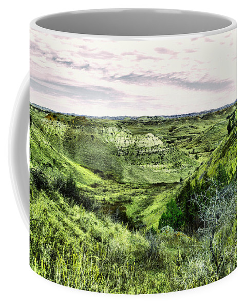 North Dakota Coffee Mug featuring the photograph A View Into The Badlands by Jeff Swan