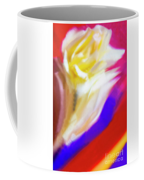 Abstract Coffee Mug featuring the photograph A White Rose In An Abstract Style. by Alexander Vinogradov