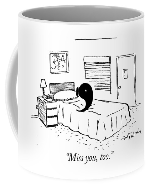 Punctuation Coffee Mug featuring the drawing A Ying Talks To A Yang On The Phone by Mike Twohy