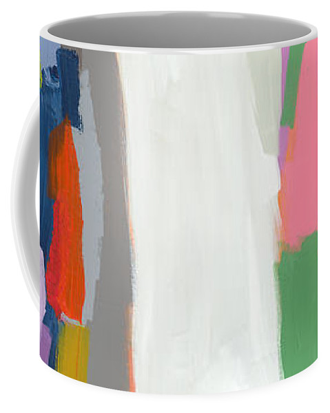 Abstract Coffee Mug featuring the painting Aaron And His Greens by Claire Desjardins