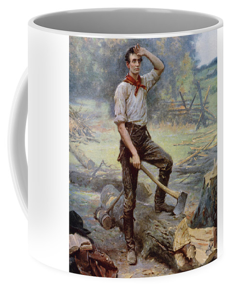 Abraham Lincoln Coffee Mug featuring the painting Abe Lincoln The Rail Splitter by War Is Hell Store