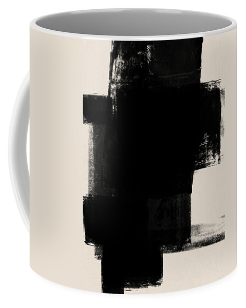 Black And White Coffee Mug featuring the mixed media Abstract Black And White No.1 by Naxart Studio
