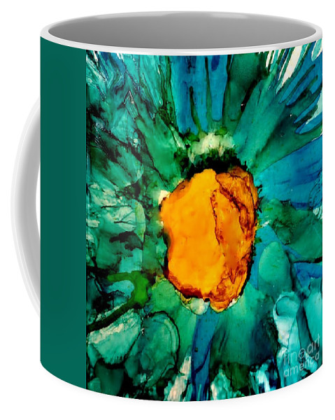 Ink Painting Coffee Mug featuring the painting Abstract Gerbera Ink Flower by Marsha Heiken