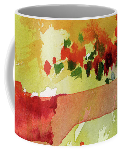 Res Poppies Coffee Mug featuring the painting Abstract Red Poppies Panorama by Ginette Callaway