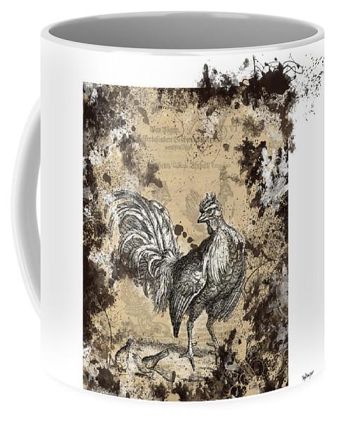 Antique Poultry Prints Grunge Modern Coffee Mug featuring the digital art Adam Lonitzer 1593, Barlow 1690 by Sigrid Van Dort