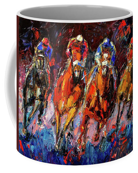 Horse Race Coffee Mug featuring the painting Adrenalin by Debra Hurd