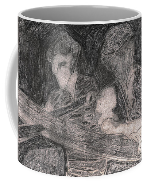 Drawing Coffee Mug featuring the drawing After Billy Childish Pencil Drawing 33 by Artist Dot