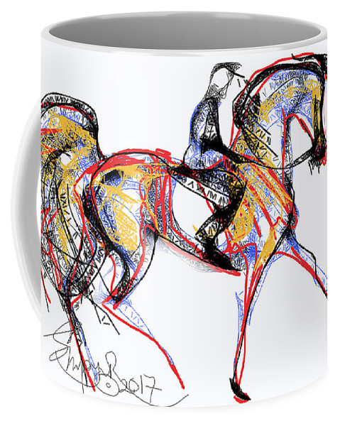 Contemporary Horse Painting Coffee Mug featuring the digital art After The Derby by Stacey Mayer