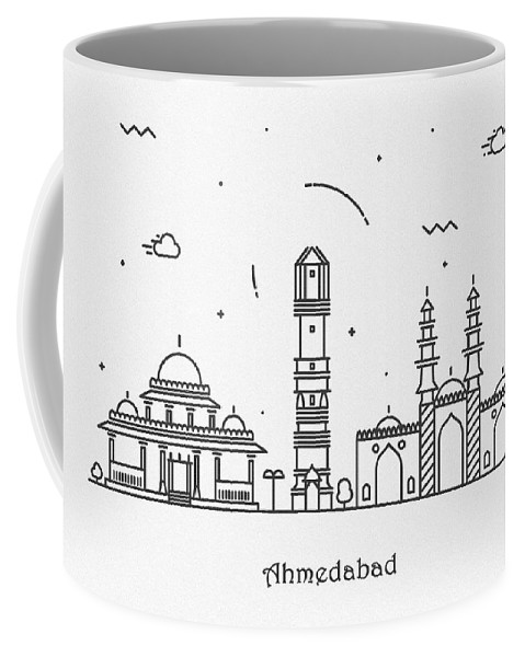 Ahmedabad Coffee Mug featuring the digital art Ahmedabad Cityscape Travel Poster by Inspirowl Design