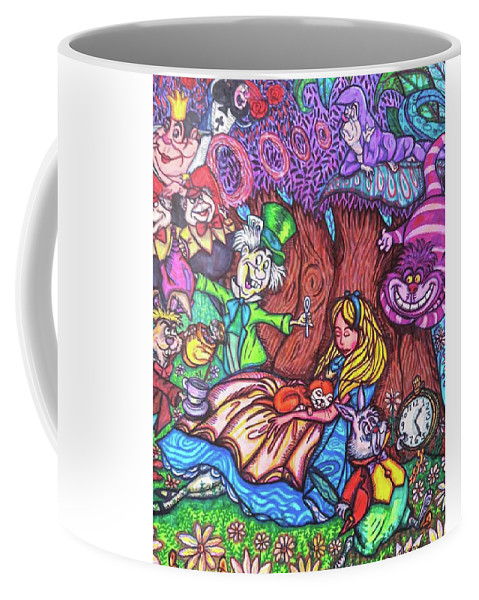 Sharpies Coffee Mug featuring the drawing Alice In Wonderland by Janine Messenger