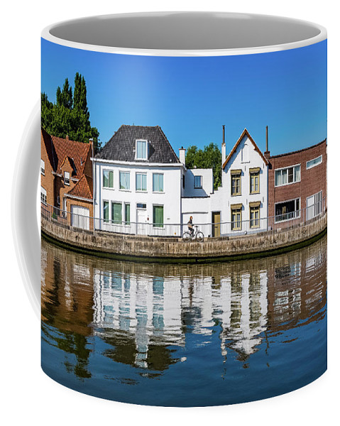 Belgique Coffee Mug featuring the photograph Along The Canal. Flanderenfietsroute.  by Andrew Hardy