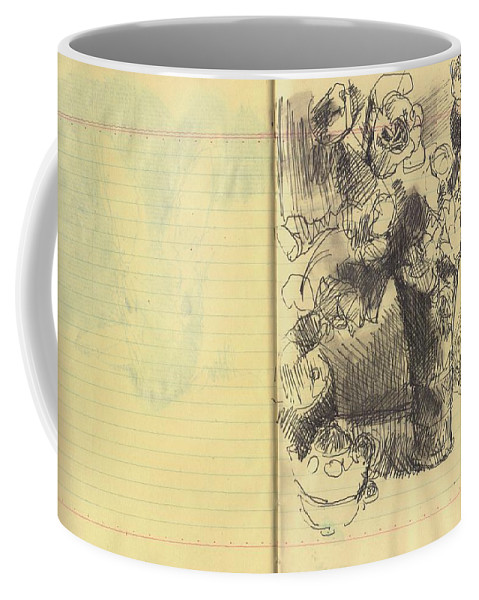 Nostalgia Coffee Mug featuring the drawing Amber Flowers by Aletha Kuschan