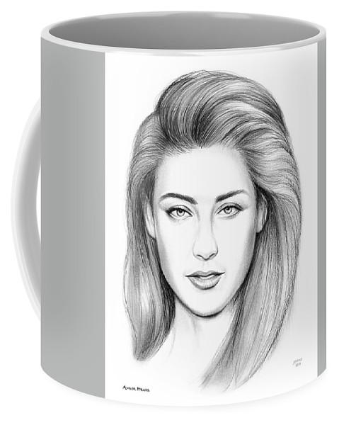 Sketch Coffee Mug featuring the drawing Amber Heard by Greg Joens