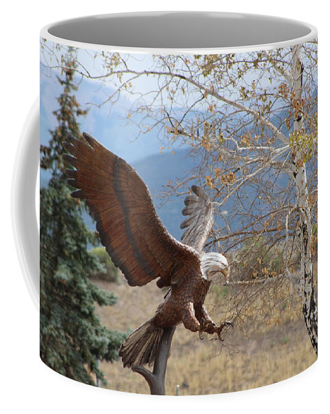 Eagle Coffee Mug featuring the photograph American Eagle in Autumn by Colleen Cornelius