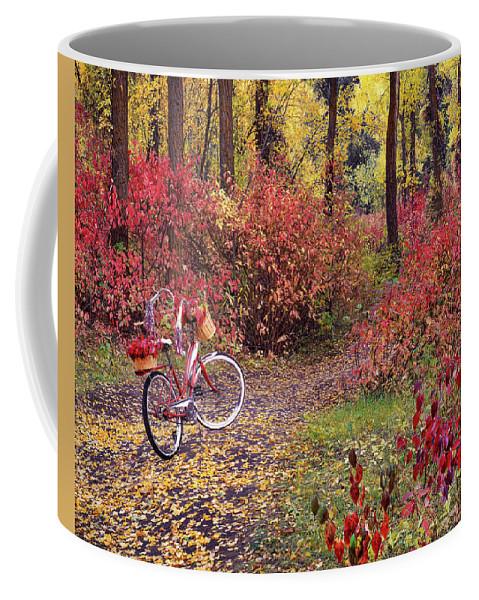 Nature Coffee Mug featuring the photograph An Autumn Bike Trek by Leland D Howard