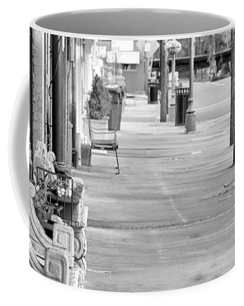 Black And White Coffee Mug featuring the photograph Antique Alley In Black And White by Ester Rogers