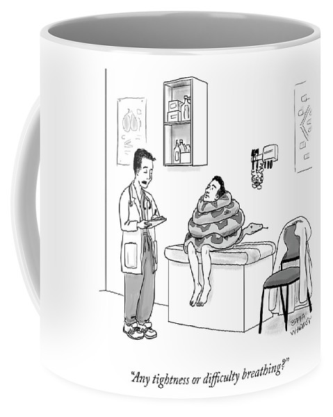 Any Tightness Or Difficulty Breathing? Coffee Mug featuring the drawing Any Tightness? by Sofia Warren