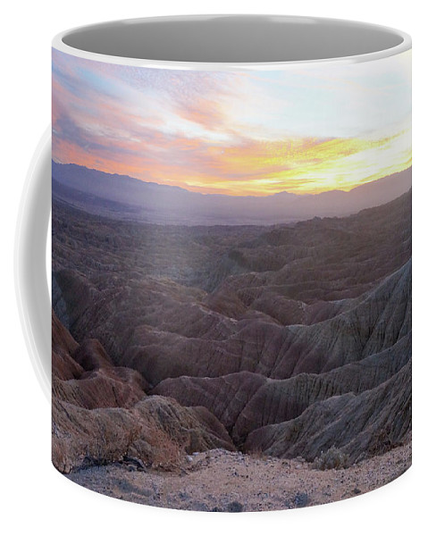 Anza Borrego Coffee Mug featuring the photograph Anza Borrego Fonts Point Sunset 02 by Richard A Brown