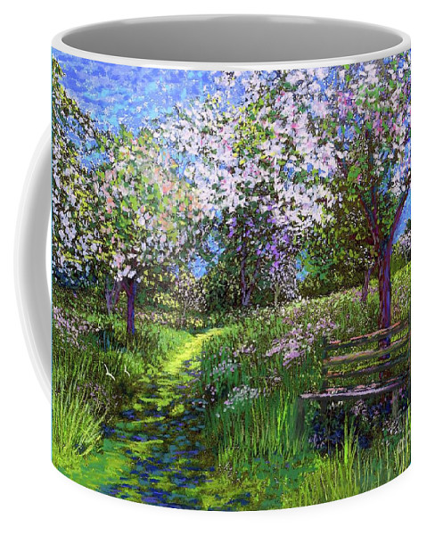 Floral Coffee Mug featuring the painting Apple Blossom Trees by Jane Small
