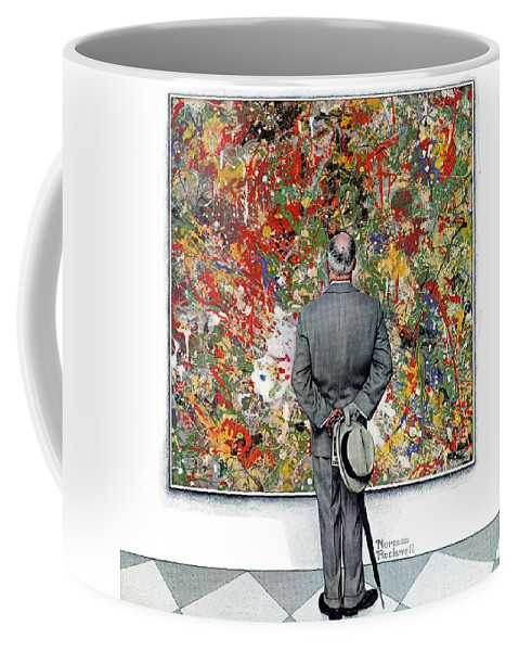 Art Coffee Mug featuring the drawing Art Connoisseur by Norman Rockwell