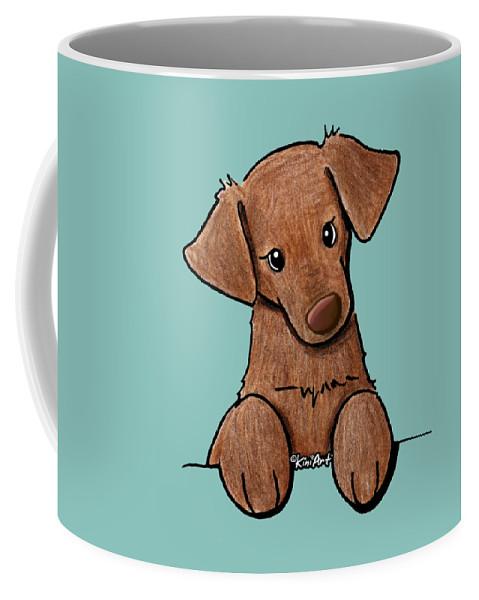 Chocolate Lab Coffee Mug featuring the drawing Chocolate Lab by Kim Niles