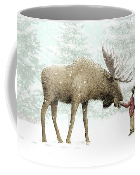 Moose Coffee Mug featuring the drawing Winter Moose by Eric Fan
