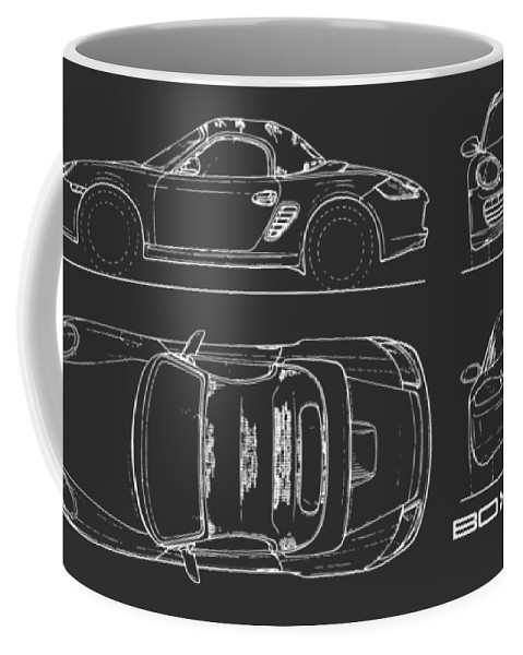 Porsche Coffee Mug featuring the photograph The Boxster Blueprint - Black by Mark Rogan