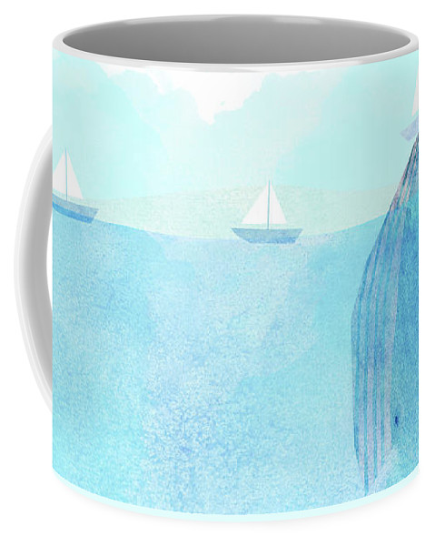 Whale Coffee Mug featuring the drawing Lift Option by Eric Fan