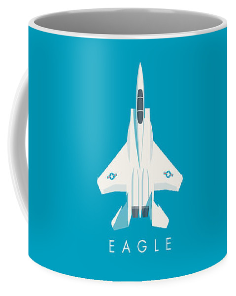 Jet Coffee Mug featuring the digital art F15 Eagle Fighter Jet Aircraft - Blue by Ivan Krpan