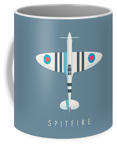 Spitfire Coffee Mug featuring the digital art Supermarine Spitfire Fighter Aircraft - Stripe Slate by Ivan Krpan