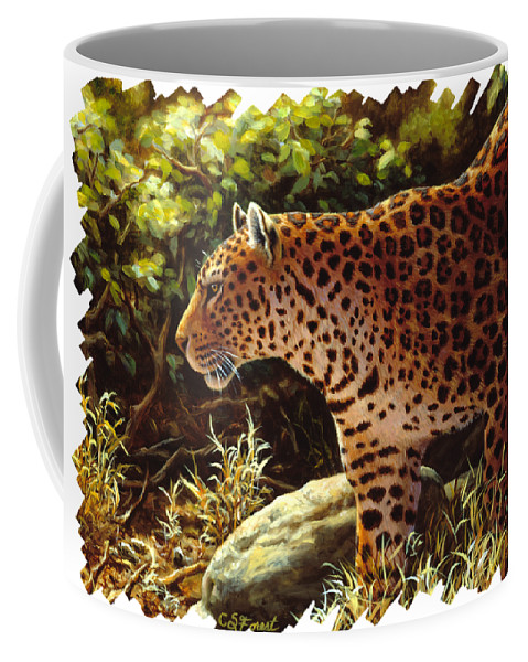 Cats Coffee Mug featuring the painting Leopard Painting - On The Prowl by Crista Forest