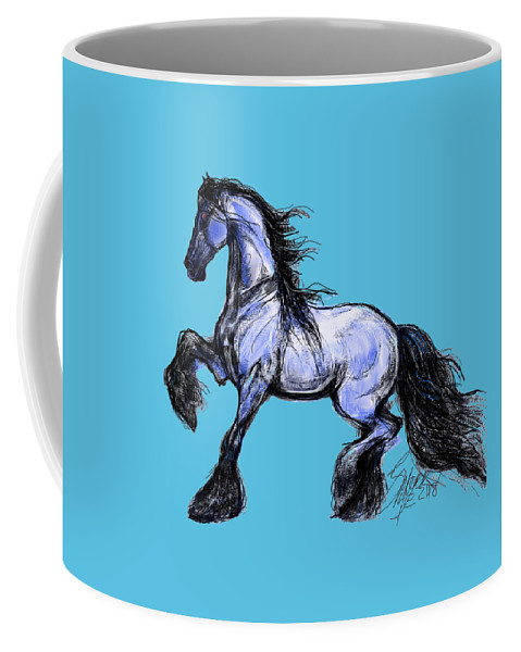 Friesian Horse Art; Friesian Drawings; Friesian Dressage Horse; Friesian Art Prints; Sporthorse; Friesian Quine Art; Stacey Mayer; Dressage Horse Art; Sweatshirts Coffee Mug featuring the digital art Friesian Mare by Stacey Mayer