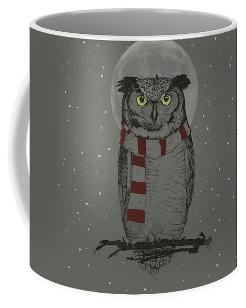 Owl Coffee Mug featuring the mixed media Winter Owl by Balazs Solti