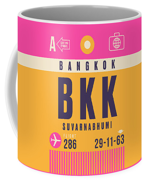 Airline Coffee Mug featuring the digital art Retro Airline Luggage Tag - Bkk Bangkok Thailand by Organic Synthesis