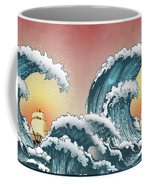 Great Wave Coffee Mug featuring the digital art Sea Waves by Mark Ashkenazi