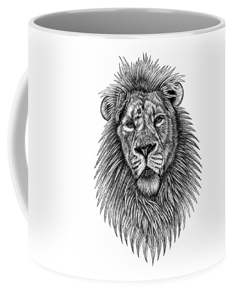 Lion Coffee Mug featuring the drawing Asiatic Lion by Loren Dowding