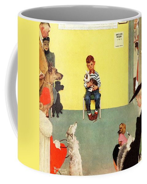 Boy Coffee Mug featuring the drawing At The Vets by Norman Rockwell